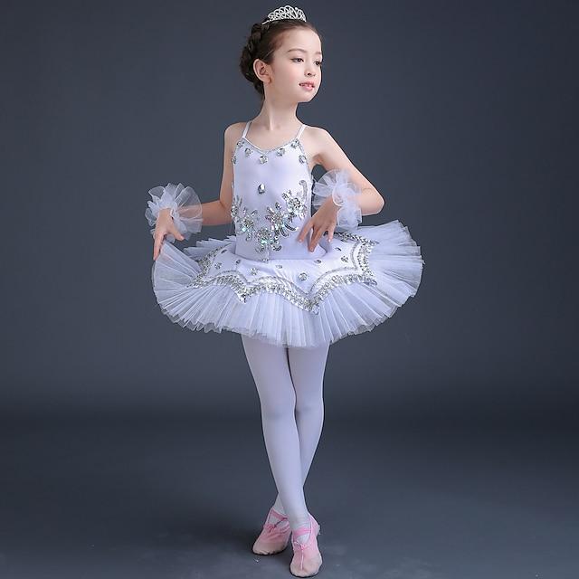 robe de ballet robe tutu lac des cygnes dentelle cristaux strass paillette mignonne performance sans manches haute spandex tulle vêtements de danse pour enfants