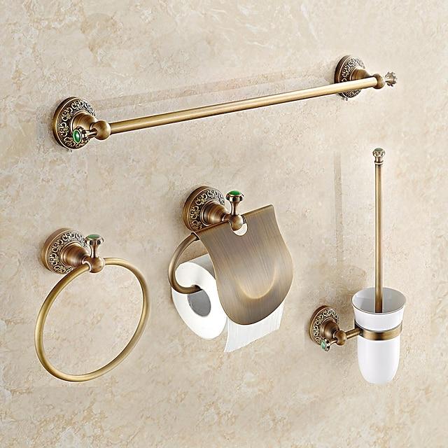set de accesorii pentru baie din alamă antică include inel de prosoape / suport pentru hârtie igienică / suport pentru prosoape / suport pentru perii de toaletă 1 set