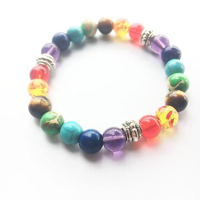 Turquoise Bead Bracelet Yoga Bracelet Beads Rainbow Natural Fashion energy Healing Stone Bracelet Jewelry Rainbow For Wedding Party Sports