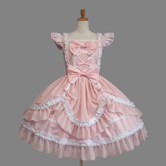 Princess Sweet Lolita Vacation Dress Dress Women's Girls' Cotton Japanese Cosplay Costumes Plus Size Customized Pink Ball Gown Solid Color Fashion Cap Sleeve Short Sleeve Short / Mini / Tuxedo