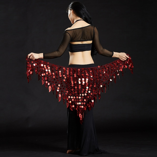Belly Dance Hip Scarves Women's Performance Polyester Sequin Hip Scarf
