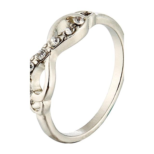 สำหรับผู้หญิง วงแหวน สีทอง สีเงิน เลียนแบบเพชร โลหะผสม ความไม่มีที่สิ้นสุด ความหรูหรา ปาร์ตี้ ที่มา เครื่องประดับเครื่องแต่งกาย