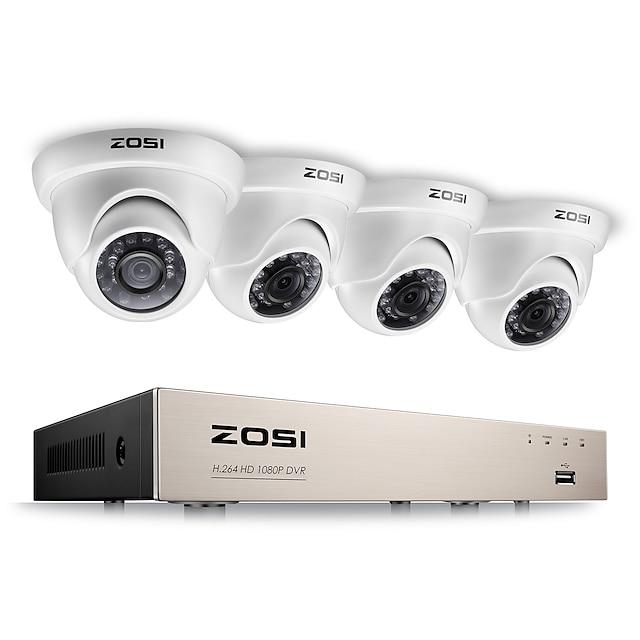 zosi® 2.0mp 1080 p hd 4 ch dvr kit di sorveglianza tvi 4 pz 2000tvl sistema di visione notturna per esterni ir cctv