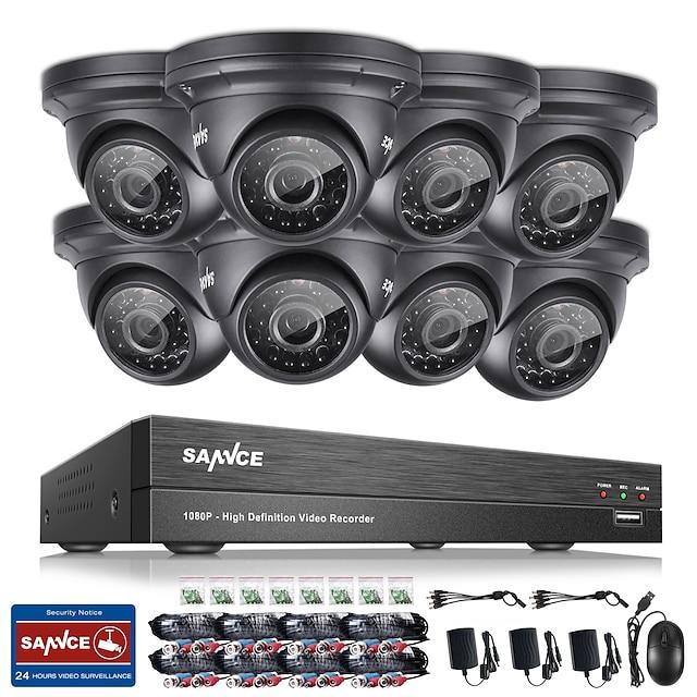 Sannce® 8ch cctv sikkerhedssystem onvif 1080p ahd / tvi / cvi / cvbs / ip 5-i-1 dvr med 8 * 2,0mp vandtætte kameraer nej hdd
