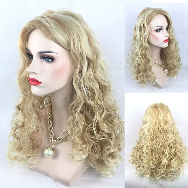 Synthetic Wig Curly Curly Wig Blonde Medium Length Blonde Synthetic Hair Women's Middle Part Blonde