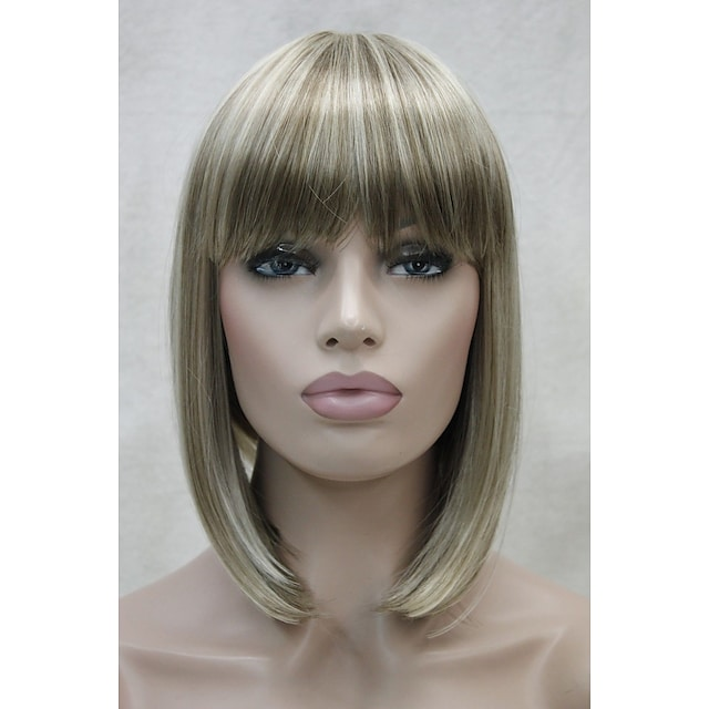Synthetic Wig Straight Straight Bob With Bangs Wig Short Blonde Synthetic Hair Women's Blonde StrongBeauty