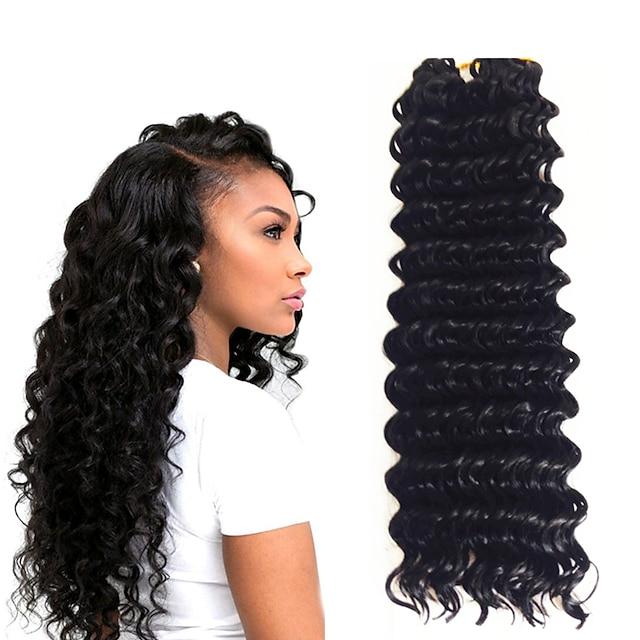 Crochet Hair Braids Ondulation profonde Box Braids Noir A Ombre Cheveux Synthétiques 14 pouce Rajouts de Tresses 3pcs / pack