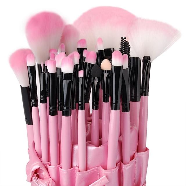 Profesjonell Makeup børster Børstesett 32pcs Høy kvalitet Tre Sminkebørster til Øyenskygger Concealer Pudder Rødme Makeup Bags Foundationbørste Leppebørste