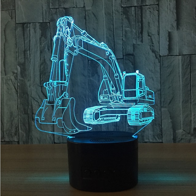 pelle 3D illusion lampe Ampoules LED veilleuse pour noël avec 7 couleurs clignotantes& interrupteur tactile lampe de bureau alimentée par usb pour la décoration de la maison des enfants