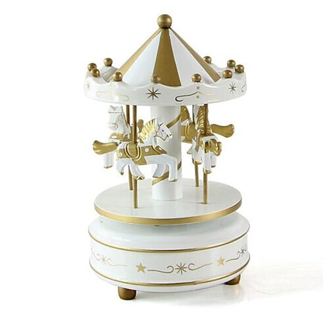 الصندوق الموسيقي صندوق الموسيقى الدائري حصان دائري مواد تأثيث فريد البلاستيك خشبي نسائي للجنسين للصبيان للفتيات للأطفال بالغين أطفال 1 pcs هدايا التخرج ألعاب هدية