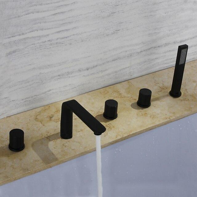 Bathtub Faucet - Contemporary Black Roman Tub Ceramic Valve Bath Shower Mixer Taps