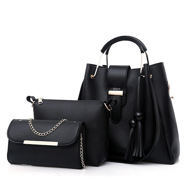 Women's Bags PU Leather Bag Set 3 Pcs Purse Set Zipper Tassel Shopping Bag Sets Handbags White Black Red Blushing Pink