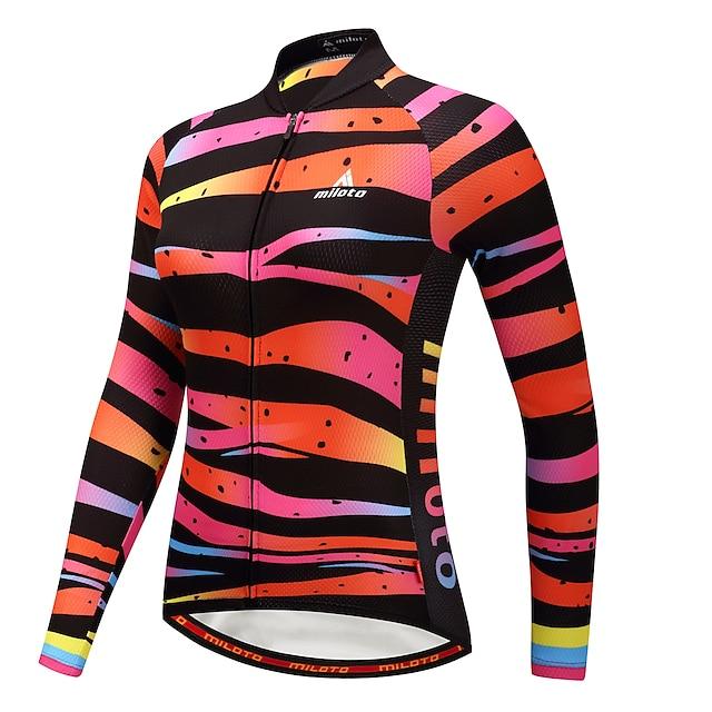 Miloto Women's Long Sleeve Cycling Jersey Winter Camouflage Rainbow Plus Size Bike Jersey Top Mountain Bike MTB Road Bike Cycling Back Pocket Sports Clothing Apparel / Stretchy