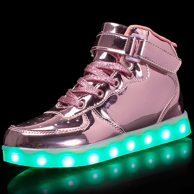 Girls' Sneakers LED Comfort LED Shoes Patent Leather Customized Materials Little Kids(4-7ys) Big Kids(7years +) Athletic Casual Walking Shoes Lace-up Hook & Loop LED Black Blue Pink Fall