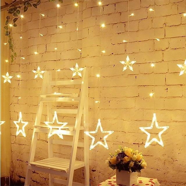 LED csillag függönyablakok 8 üzemmód 12 csillaggal 138 led vízálló összekapcsolható függönylámpa karácsonyi halloween ünnepekre esküvői hálószoba beltéri kültéri dekoráció