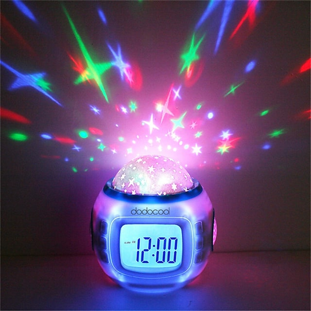 Musique Réveil Sky Projector Light Pour les enfants Couleurs changeantes Anniversaire Batteries AAA alimentées 1pc