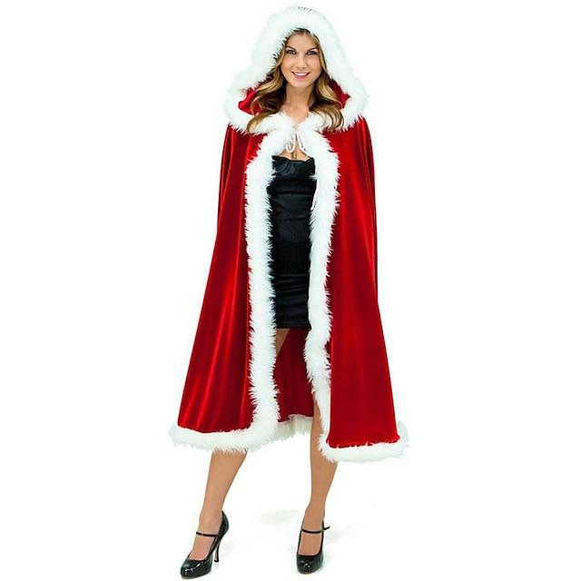 Άγιος Βασίλης Κ. Claus Μανδύας Santa Clothe Γυναικεία Χριστούγεννα Γιορτές / Διακοπές Χνουδωτό Ύφασμα Κόκκινο Αποκριάτικα Κοστούμια Μονόχρωμο