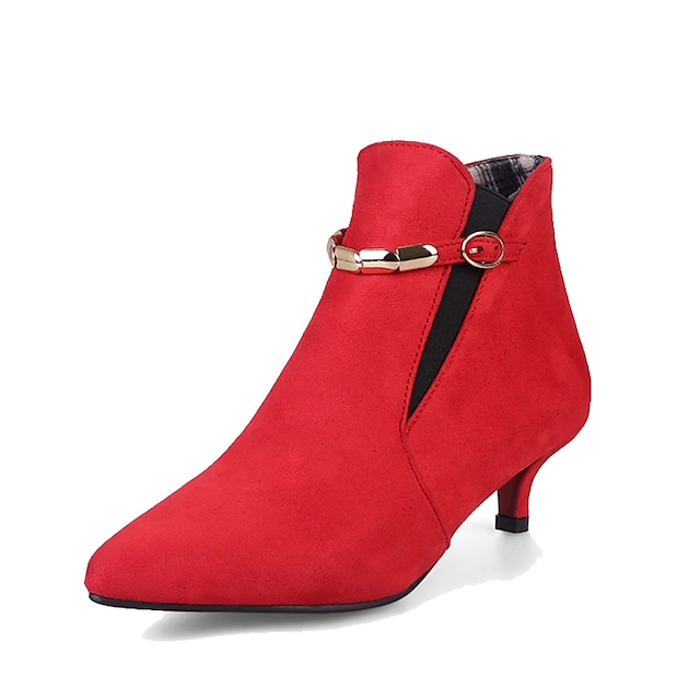 Women's Boots Kitten Heel Pointed Toe Comfort Dress Walking Shoes Leatherette Buckle Black Red Green / Booties / Ankle Boots