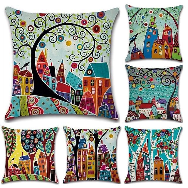 set di 6 botanico stile bohémien retro cotone lino decorativo quadrato copriletto cuscino set federa per divano camera da letto auto cuscino esterno per divano divano letto sedia