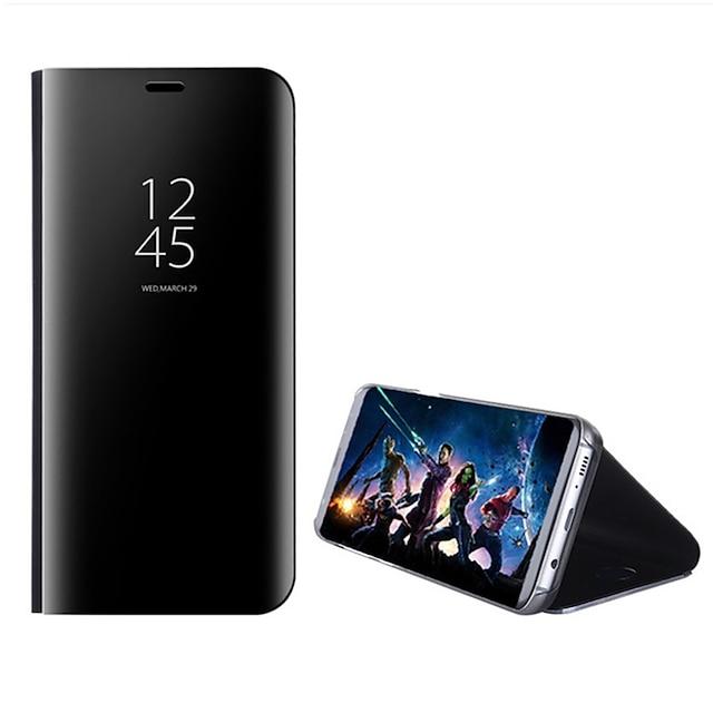 telefone Capinha Para Samsung Galaxy Capa Proteção Completa Case Completa S8 Plus S8 Borda S7 S7 S6 edge plus Borda S6 Com Suporte Espelho Virar Côr Sólida Rígida PC