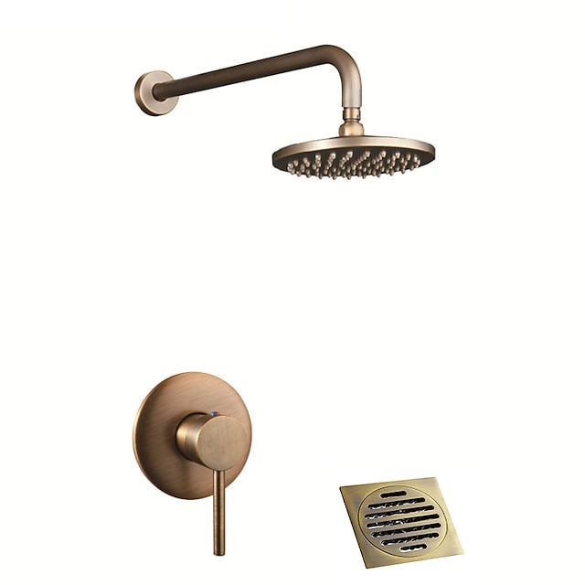 Brass Shower Faucet Set,Single Handle Three Holes Rainfall Wall Mounted Shower Suit Drain Included with Hot and Cold Water