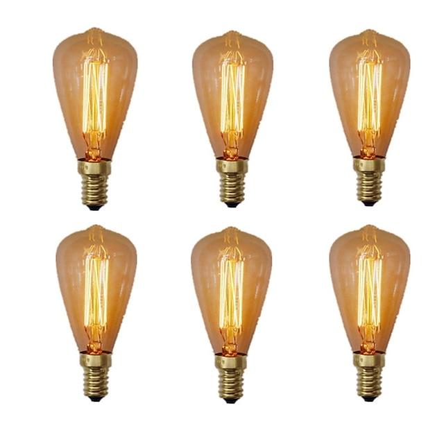 6 قطعة 40 واط E14 ST48 المتوهجة خمر اديسون ضوء لمبة بيضاء دافئة 2200-2700 كيلو الرجعية عكس الضوء ل شمعة ضوء قلادة الثريا 220-240 فولت