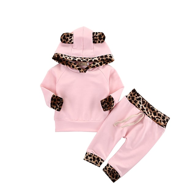 Toddler Girls' Clothing Set Long Sleeve Blushing Pink Solid Colored Leopard Cotton Daily Active Regular