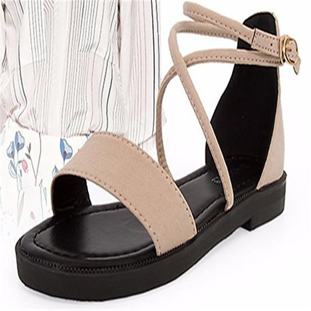 Women's Cross-Strap Sandals PU(Polyurethane) Spring Comfort Sandals Flat Heel Black / Beige / Brown