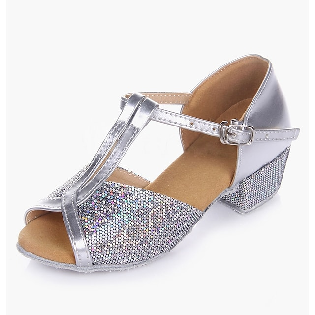 Girls' Latin Shoes Heel Low Heel Gold Silver Toggle Clasp Teenager