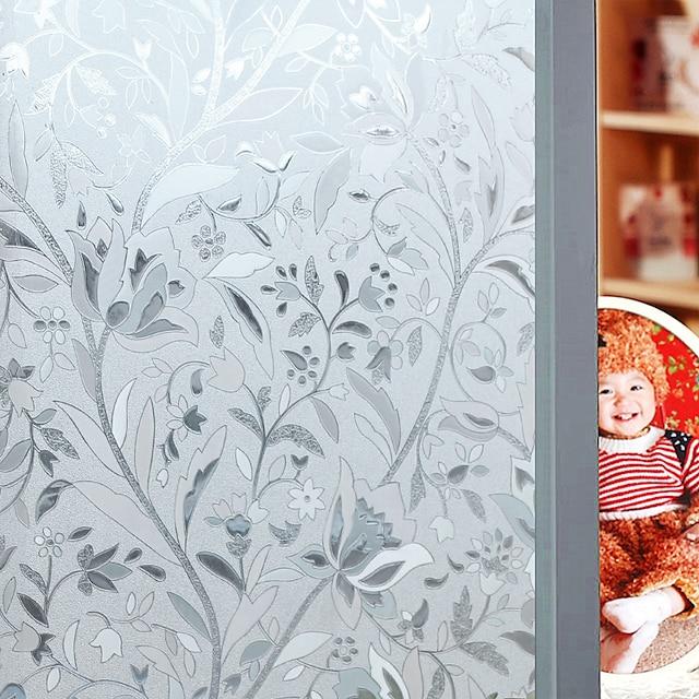 ウィンドウフィルム& ステッカー装飾フローラルフローラルPVC /ビニールマットステッカー寝室のリビングルーム用の100x45cmウォールステッカー