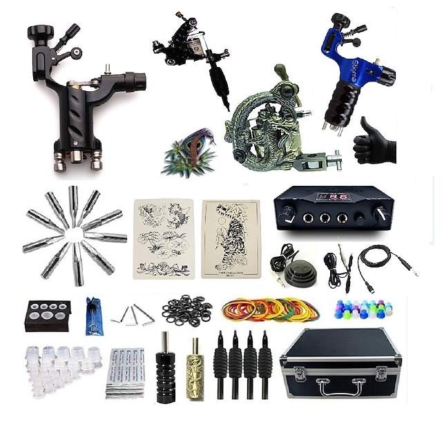 BaseKey Professional Tattoo Kit Tattoo Machine - 4 pcs Tattoo Machines, Professional Aluminum Alloy 20 W 2 rotary machine liner & shader / 2 alloy machine liner & shader / Case Included