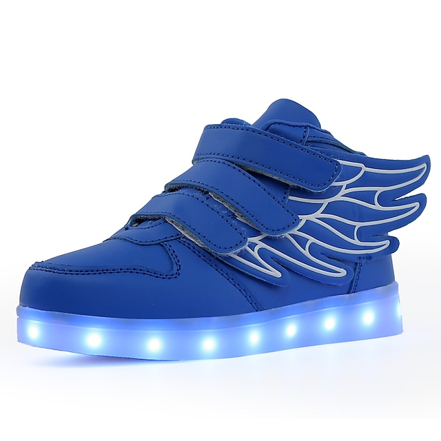Boys' Girls' Sneakers LED LED Shoes USB Charging PU Little Kids(4-7ys) Big Kids(7years +) Daily Walking Shoes Buckle LED Luminous Black Red Pink Fall Winter