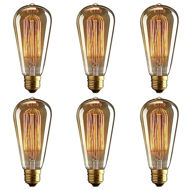 brelong 6 pcs e27 40w st64 ampoule décorative edison dimmable blanc chaud