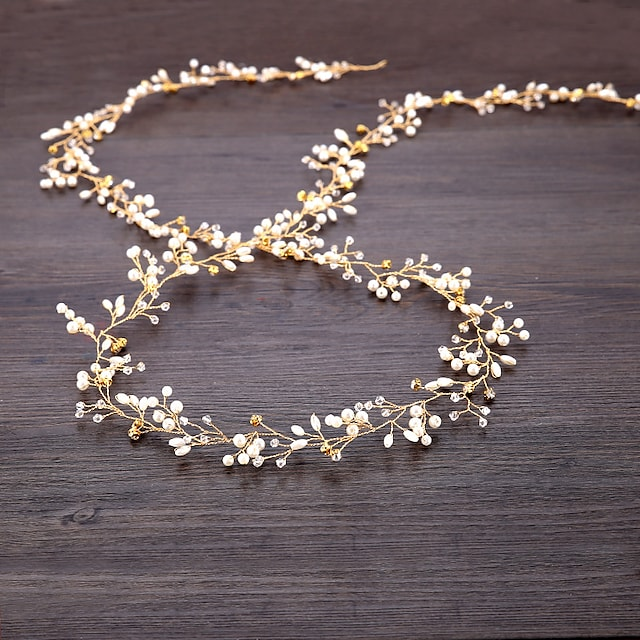 Imitation Pearl / Copper wire Headbands / Headpiece / Head Chain with Faux Pearl / Crystals 1pc Wedding Headpiece