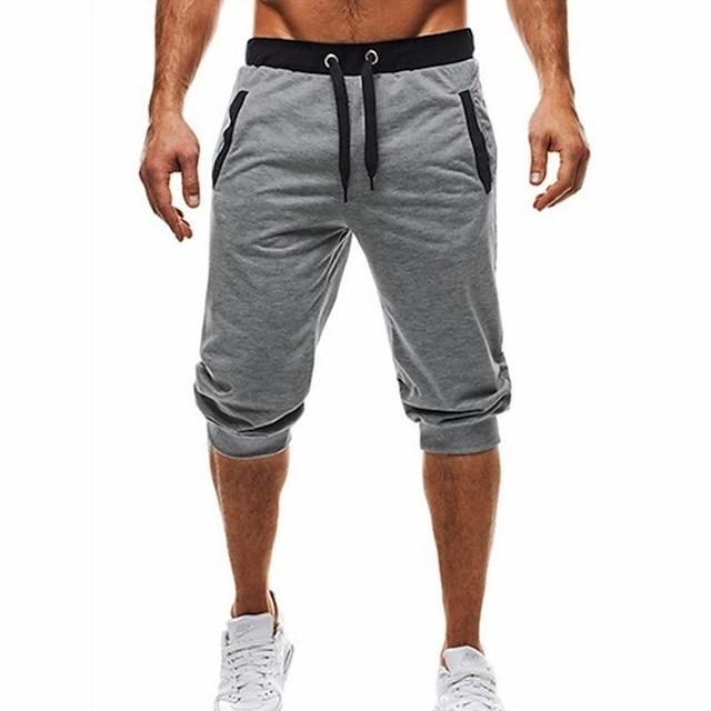 Men's Basic / Street chic Daily Sports Holiday Chinos / Shorts wfh Sweatpants - Color Block Black & Gray, Patchwork / Drawstring Summer Fall Black Dark Gray Light gray L XL XXL / Beach