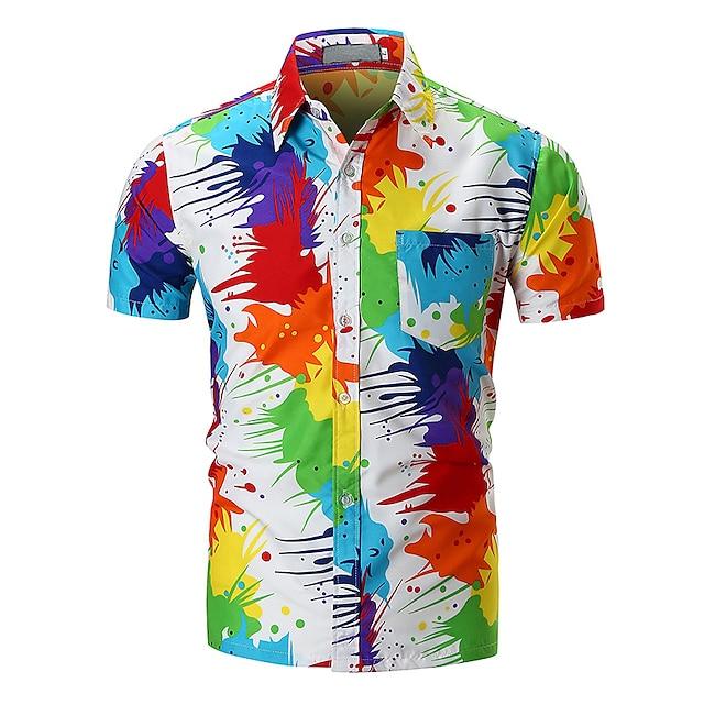 Муж. Рубашка Радужный С короткими рукавами Повседневные Верхушки Классический Цвет радуги