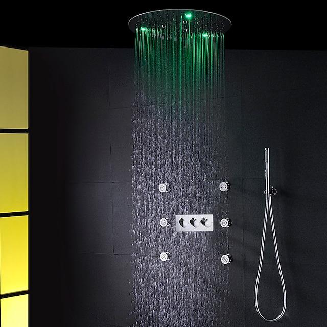 Contemporary Bathroom Shower Faucet Set / 20 Inch Round Rain AC LED Bath Shower Head / Brass Hand Shower Included / SPA Massage Body Sprayer Jets Bath Shower Mixer Taps