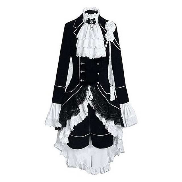 Inspired by Black Butler Ciel Phantomhive Anime Cosplay Costumes Japanese Outfits Patchwork Color Block Long Sleeve Vest Shirt Skirt For Men's Women's / Headpiece