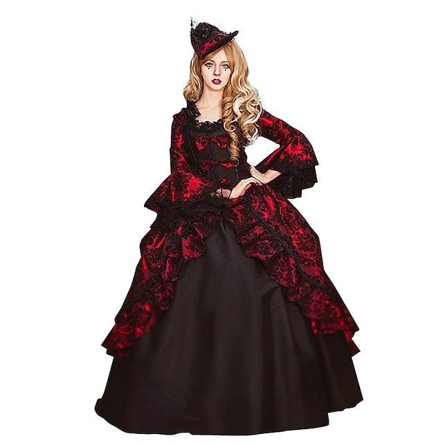 Rococo Victorian Costume Women's Adults' Dress Black / Red Vintage Cosplay Flocked 3/4 Length Sleeve Flare Sleeve Ball Gown Plus Size Customized / Floral