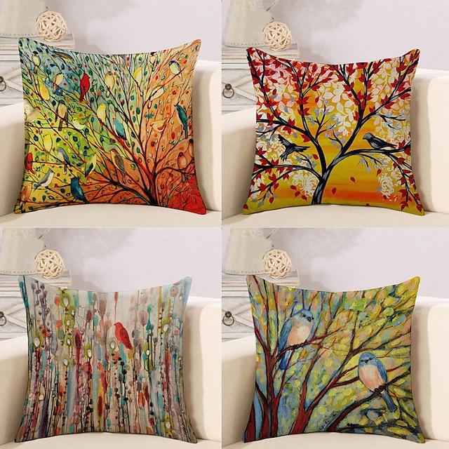 4 piezas de funda de almohada de algodón / lino sintético, floral floral&plantas rústico cuadrado tradicional clásico hogar sofá decorativo exterior cojín para sofá sofá cama silla