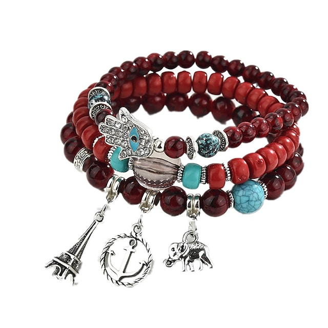 3pcs Onyx Charm Bracelet Bead Bracelet Layered Stacking Stackable Elephant Ladies Lovely Multi Layer Agate Bracelet Jewelry Coffee / Rainbow / Red For Daily Club