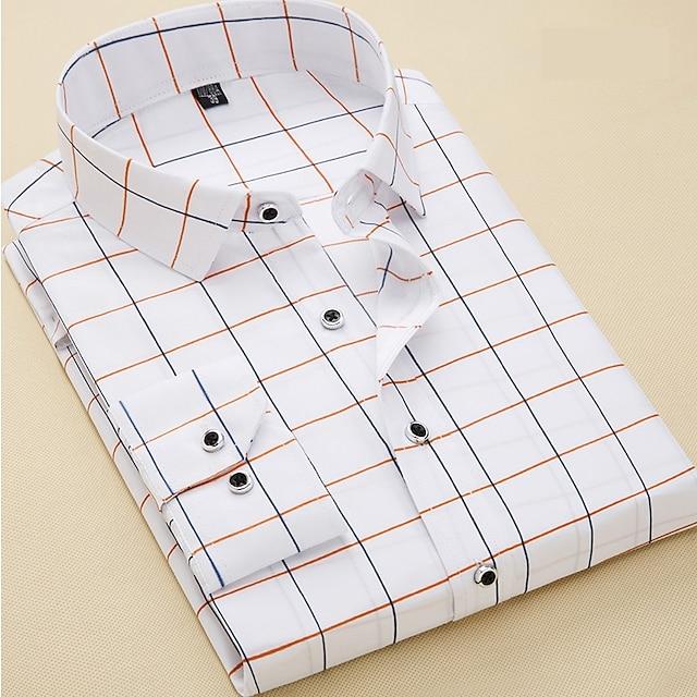 Erkek Gömlek Ekose Uzun Kollu Günlük İnce Üstler İş Temel Günlük / Sade Ofis / Kariyer Beyaz Koyu Mavi / Çalışma
