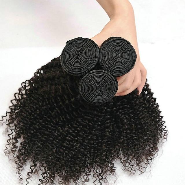 3 חבילות שיער אריגה שיער הודי קינקי מתולתל תוספות שיער אדם שיער ראמי 100% רמי שיער לארוג חבילות 300 g טווה שיער אדם תוספות שיער משיער אנושי 8-28 אִינְטשׁ צבע טבעי טבע שחור / 8A / סבך חינם
