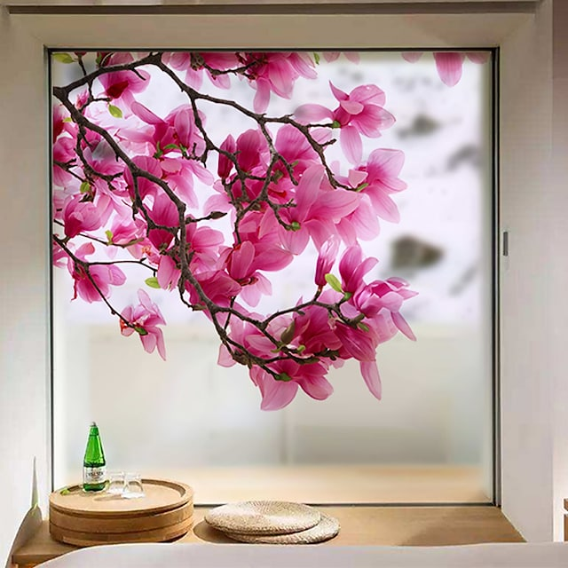 Window Film & Stickers Decoration Matte / Contemporary Flower / Floral PVC(PolyVinyl Chloride) Window Sticker / Matte 68*60cm Wall Stickers for bedroom living room