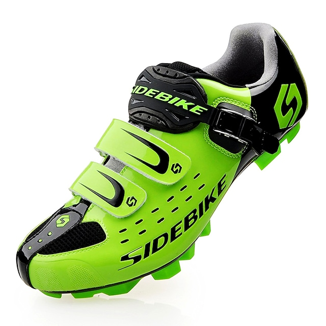 SIDEBIKE Calzado para Mountain Bike Fibra de Carbono Impermeable Utra ligero (UL) Ciclismo Negro Rojo Verde Hombre Zapatillas Carretera / Zapatos de Ciclismo / Malla respirante / Gancho y Vuelta