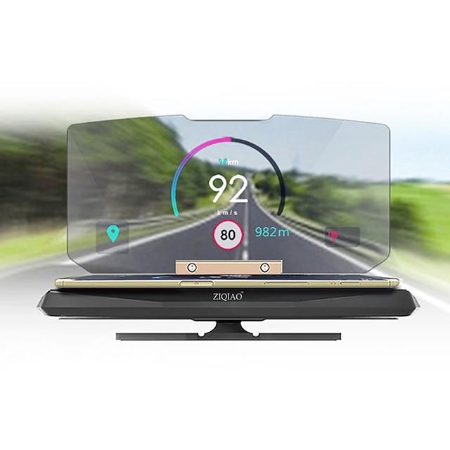 Ziqiao 6 tums uppifrån-bildskärm Bilhållare GPS-projektor för självkörande resor