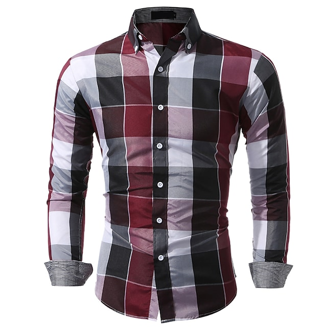 남성용 셔츠 체크무늬 체크 탑스 푸른 루비