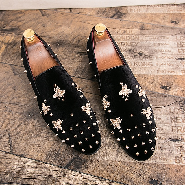 남성용 로퍼&슬립-온 공식 신발 결혼식 파티 / 이브닝 스웨이드 블랙 레드 가을 겨울