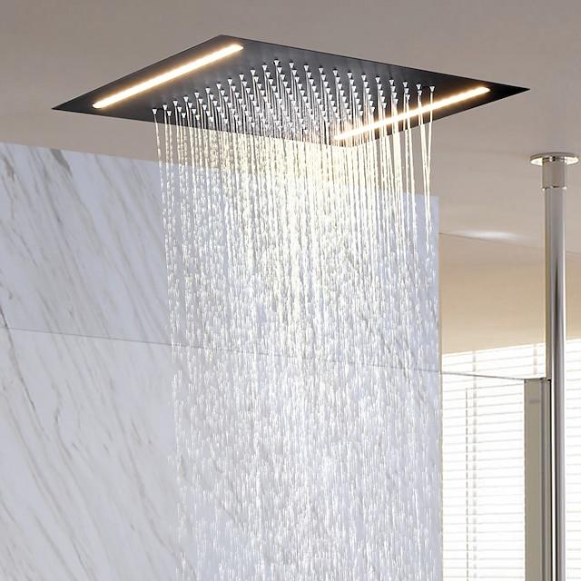 עכשווי מקלחת גשם TI-PVD מאפיין - עיצוב חדש / גשם, ראש המקלחת / מלבני / מתכת אל חלד / עיסוי / רך / רכוב תיקרה