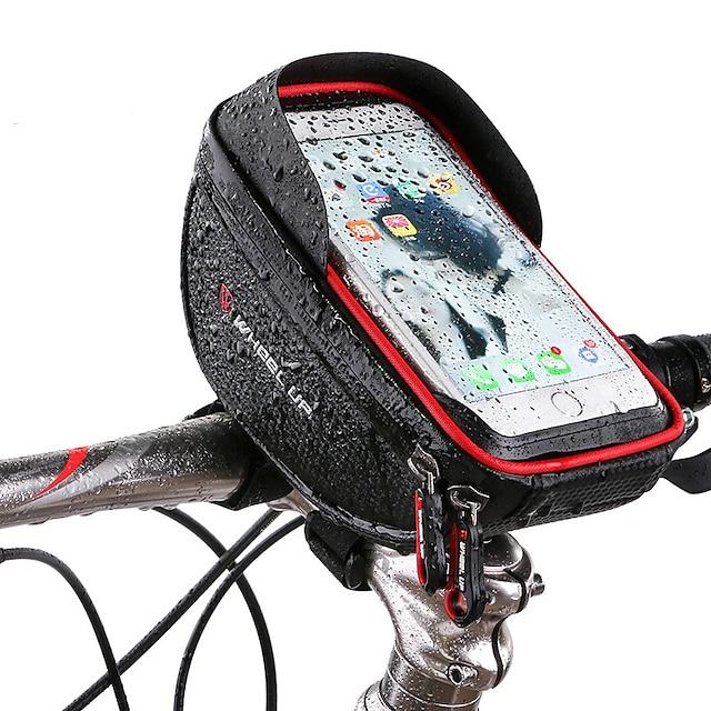 Wheel up 携帯電話バッグ 自転車用フロントバッグ 6 インチ タッチスクリーン 反射 サイクリング のために サイクリング iPhone X iPhone XR ルビーレッド ブラック マウンテンバイク ロードバイク / iPhone XS / iPhone XS Max